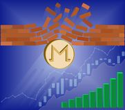 Monero coin breaks through the wall resistance. With growth chart on a blue background , the price of crypto currency is rising , vector image design concept Royalty Free Stock Image