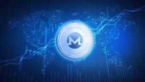 Monero coin on hud background with bull stock chart. Stock Photography