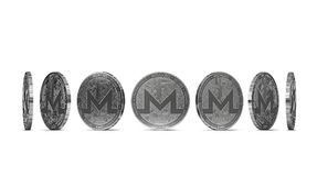 Monero coin shown from seven angles isolated on white background. Easy to cut out and use particular coin angle. 3D rendering stock illustration
