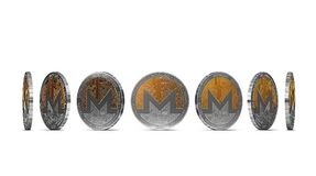 Monero coin shown from seven angles isolated on white background. Easy to cut out and use particular coin angle. 3D rendering royalty free illustration