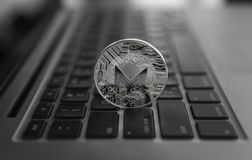 Monero coin symbol on laptop, future concept financial currency, crypto currency sign. Blockchain mining. Digital money. And virtual cryptocurrency concept stock images