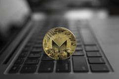 Monero coin symbol on laptop, future concept financial currency, crypto currency sign. Blockchain mining. Digital money. And virtual cryptocurrency concept royalty free stock images