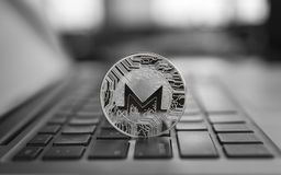 Monero coin symbol on laptop, future concept financial currency, crypto currency sign. Blockchain mining. Digital money. And virtual cryptocurrency concept royalty free stock photos