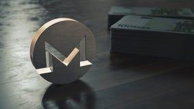 Monero cryptocurrency金属标志 3d?? 库存例证
