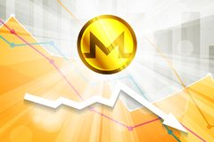 Monero cryptocurrency in the bright rays on background with stat. Istics chart and arrow going down Royalty Free Stock Image