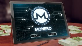 Monero cryptocurrency logo on the pc tablet, 3D illustration stock illustration