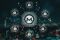 Monero cryptocurrency security theme with aerial view of Tokyo Stock Photography