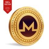 Monero 3D badania lekarskiego isometric moneta Cyfrowej waluta Cryptocurrency Złota moneta z Monero symbolem również zwrócić core Obraz Royalty Free