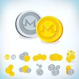 Monero. 2D cartoon bit coin. Digital currency. Cryptocurrency. Golden coins with symbol isolated on white background. Stock vector illustration Royalty Free Stock Photos