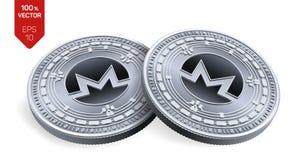 Monero 3D isometrische Fysieke muntstukken Digitale munt Cryptocurrency Zilveren die muntstukken met Monero-symbool op witte back stock illustratie