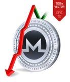 Monero Daling Rode pijl neer De classificatie van de Moneroindex daalt op uitwisselingsmarkt Crypto munt 3D isometrisch Fysiek Zi Stock Afbeelding