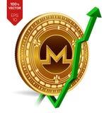Monero De groei Groene pijl omhoog De classificatie van de Moneroindex gaat op uitwisselingsmarkt uit Crypto munt 3D isometrisch  Stock Fotografie