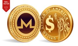 Monero. Dollar coin. 3D isometric Physical coins. Digital currency. Cryptocurrency. Golden coins with Monero and Dollar symbol iso. Lated on white background Stock Photography