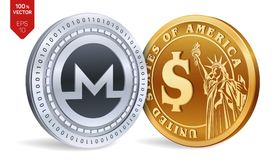 Monero. Dollar coin. 3D isometric Physical coins. Digital currency. Cryptocurrency. Golden and silver coins with Monero and Dollar. Symbol isolated on white Stock Photos