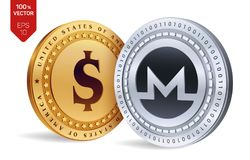 Monero. Dollar coin. 3D isometric Physical coins. Digital currency. Cryptocurrency. Golden and silver coins with Monero and Dollar. Symbol isolated on white Stock Images