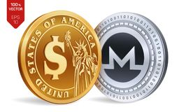 Monero. Dollar coin. 3D isometric Physical coins. Digital currency. Cryptocurrency. Golden and silver coins with Monero and Dollar. Symbol isolated on white Royalty Free Stock Image