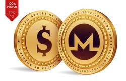Monero. Dollar coin. 3D isometric Physical coins. Digital currency. Cryptocurrency. Golden coins with Monero and Dollar symbol iso. Lated on white background Royalty Free Stock Photos