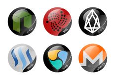 Cryptocurrencies signs. Monero,Eos,Iota and other cryptocurrencies Royalty Free Stock Photo