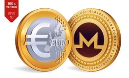 Monero Euro isometriska mynt för läkarundersökning 3D Digital valuta Cryptocurrency Guld- mynt med det Monero och eurosymbolet so stock illustrationer