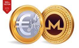 Monero Euro- moedas 3D físicas isométricas Moeda de Digitas Cryptocurrency Moedas douradas com símbolo de Monero e de Euro isolad Fotografia de Stock