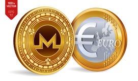 Monero Euro- moedas 3D físicas isométricas Moeda de Digitas Cryptocurrency Moedas douradas com símbolo de Monero e de Euro isolad ilustração royalty free