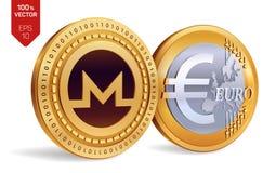 Monero Euro pièce de monnaie pièces de monnaie 3D physiques isométriques Devise de Digital Cryptocurrency Pièces de monnaie d'or  Photographie stock libre de droits