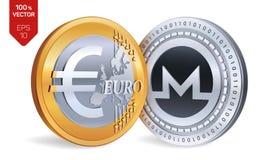 Monero Euro pièce de monnaie pièces de monnaie 3D physiques isométriques Devise de Digital Cryptocurrency Pièces d'or et en argen Photographie stock
