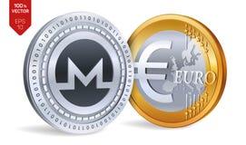 Monero Euro pièce de monnaie pièces de monnaie 3D physiques isométriques Devise de Digital Cryptocurrency Pièces d'or et en argen Photo libre de droits