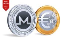 Monero Euro pièces de monnaie 3D physiques isométriques Devise de Digital Cryptocurrency Pièces d'or et en argent avec Monero et  Photo libre de droits