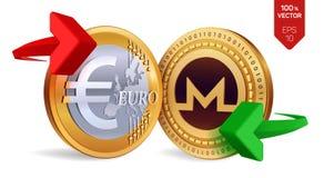 Monero Euro wymiana walut Monero menniczy euro Cryptocurrency Złote monety z Monero i Euro symbol z zielenią a i czerwienią Fotografia Royalty Free