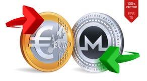 Monero Euro wymiana walut Monero menniczy euro Cryptocurrency Złote i srebne monety z Monero i Euro symbol z gree Zdjęcie Royalty Free