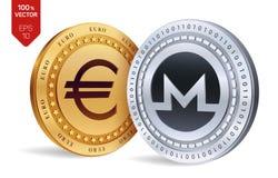 Monero Euro zerrissen zur Hälfte gegen alten Hintergrund isometrische körperliche Münzen 3D Digital-Währung Cryptocurrency Golden Stockfotografie