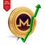 Monero. Growth. Green arrow up. Monero index rating go up on exchange market. Crypto currency. 3D isometric Physical Golden coin i. Solated on white background Stock Photo