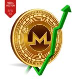 Monero. Growth. Green arrow up. Monero index rating go up on exchange market. Crypto currency. 3D isometric Physical Golden coin i. Solated on white background Stock Photography