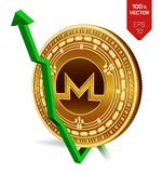 Monero. Growth. Green arrow up. Monero index rating go up on exchange market. Crypto currency. 3D isometric Physical Golden coin i. Solated on white background Royalty Free Stock Photo