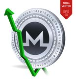 Monero. Growth. Green arrow up. Monero index rating go up on exchange market. Crypto currency. 3D isometric Physical Silver coin i. Solated on white background Royalty Free Stock Photography