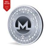 Monero isometrische körperliche Münze 3D Digital-Währung Cryptocurrency Silbermünze mit Monero-Symbol lokalisiert auf weißem Hint Lizenzfreie Stockfotos
