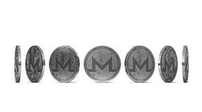 Monero-Münze gezeigt von sieben Winkeln lokalisiert auf weißem Hintergrund Einfach, bestimmten Münzenwinkel herauszuschneiden und stock abbildung