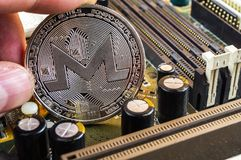 Monero is a modern way of exchange and this crypto currency. Is a convenient means of payment in the financial and web markets stock photography