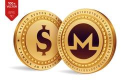 Monero Moneta del dollaro monete fisiche isometriche 3D Valuta di Digital Cryptocurrency Monete dorate con l'iso di simbolo del d Fotografie Stock Libere da Diritti