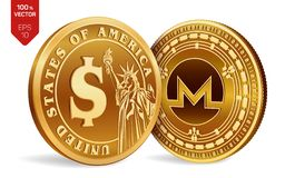 Monero Moneta del dollaro monete fisiche isometriche 3D Valuta di Digital Cryptocurrency Monete dorate con l'iso di simbolo del d Royalty Illustrazione gratis