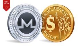 Monero Moneta del dollaro monete fisiche isometriche 3D Valuta di Digital Cryptocurrency Monete dorate e d'argento con Monero ed  Fotografie Stock