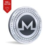 Monero moneta fisica isometrica 3D Valuta di Digital Cryptocurrency Moneta d'argento di Monero Illustrazione di vettore Immagini Stock