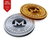 Monero monete fisiche isometriche 3D Valuta di Digital Cryptocurrency Monete dorate e d'argento con il simbolo di monero isolate  Fotografie Stock