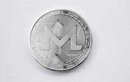 Monero numérique de pièce en argent de crypto devise Images libres de droits
