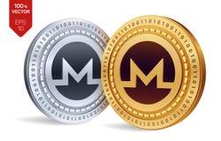 Monero pièces de monnaie 3D physiques isométriques Devise de Digital Cryptocurrency Pièces d'or et en argent avec le symbole de m Photos libres de droits