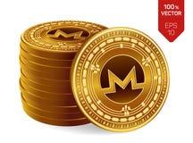 Monero pièces de monnaie 3D physiques isométriques Devise de Digital Cryptocurrency Pile de pièces de monnaie d'or avec le symbol illustration stock