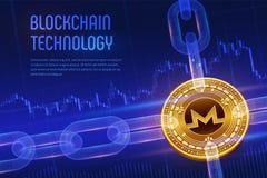 Monero Schlüsselwährung Block-Kette isometrische körperliche goldene Monero Münze 3D mit wireframe Kette auf blauem Finanzhinterg Lizenzfreie Stockbilder