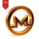 Monero symbol. 3D isometric golden Monero Sign. Digital. Currency. Cryptocurrency. Vector illustration Stock Images