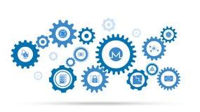 Monero symbol Från cryptocurrencyuppsättning stock illustrationer